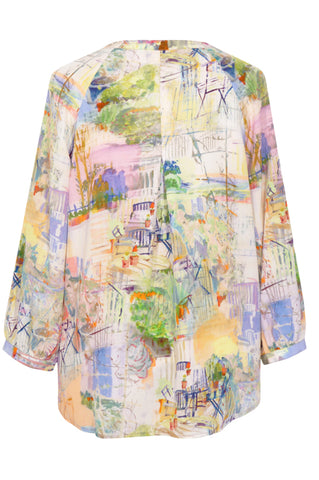 Omassim Blue - Crepe de Chine Tunic Shirt