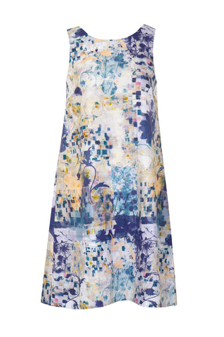 Mosaic Garden Blue - Linen Cotton Sleeveless Dress