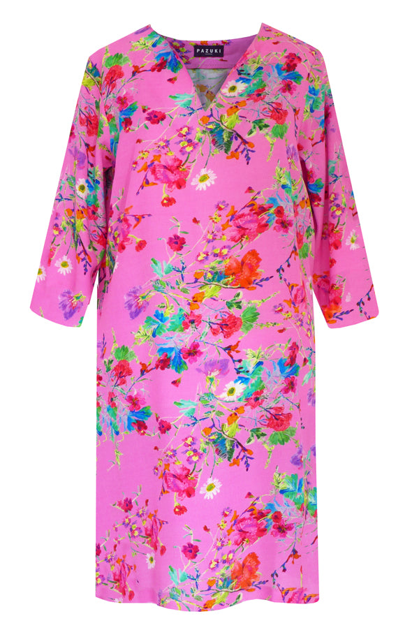 Pazuki | SS19 |  V Neck Tunic Dress - Floris Pink - FRONT