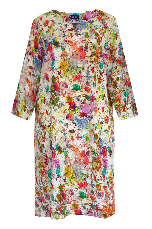 Pazuki | SS19 |  V Neck Tunic Dress - Splatter Multi - FRONT