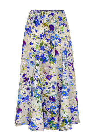 Damask Rose Blue - Elasticated Waist Skirt