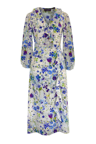 Damask Rose Blue - Silk Crepe de Chine Wrap Front Dress