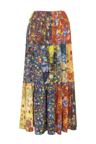 Patchwork Multi Dark - Three Tier Silk Skirt