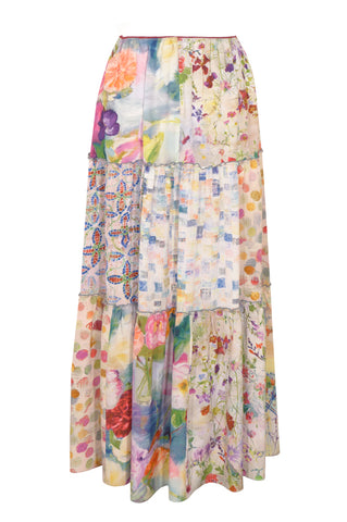 Patchwork Pastel - Three Tier Silk Skirt