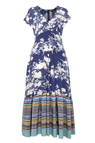Floris Stripe Blue - Midi Dress