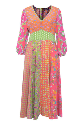 Patchwork Pink - Crepe de Chine V-Neck Dress with Sleeves