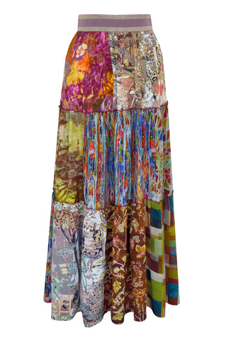 Patchwork Luminescence - Three Tier Silk Skirt