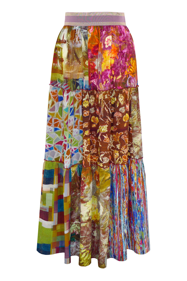 Pazuki | SS19 | Patchwork | Three Tiered Skirt - FRONT