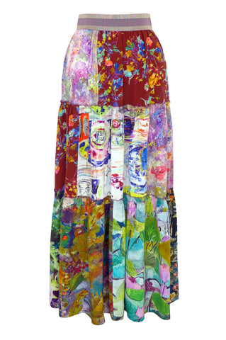 Patchwork Palette - Three Tier Silk Skirt