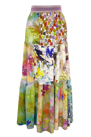 Patchwork Splash - Three Tier Silk Skirt