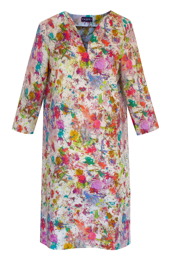 Pazuki | SS19 |  V Neck Tunic Dress - Splatter - FRONT
