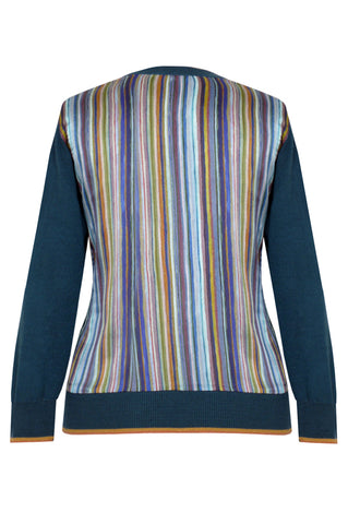 Stripe Blue - Printed Satin Back Silk Cashmere Cardigan