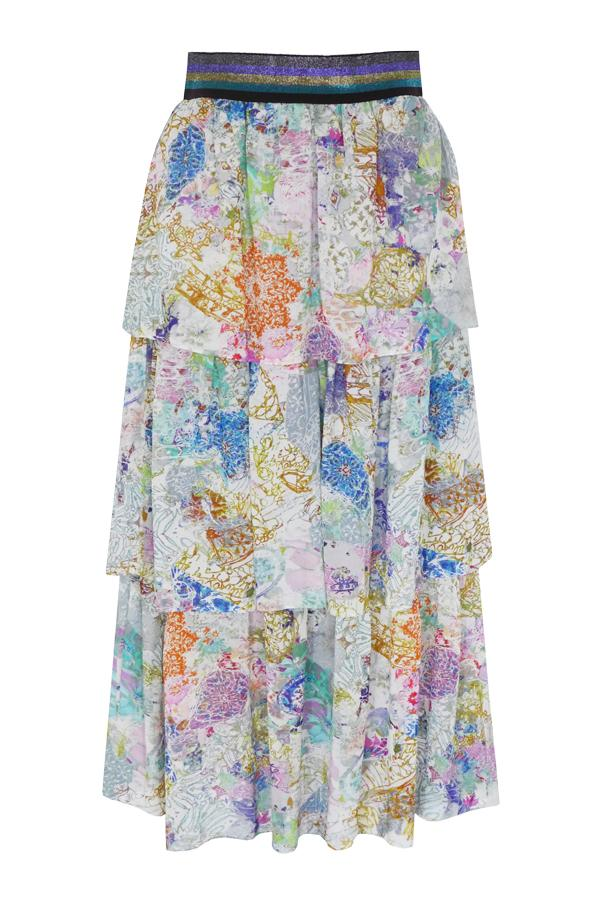 Pazuki | SS20 | Brizo Paisley Scribble Techno Georgette Tiered Skirt