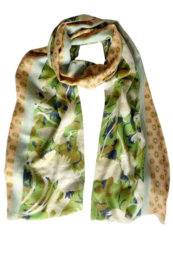 Camouflage Green Orange Wool Cashmere Scarf