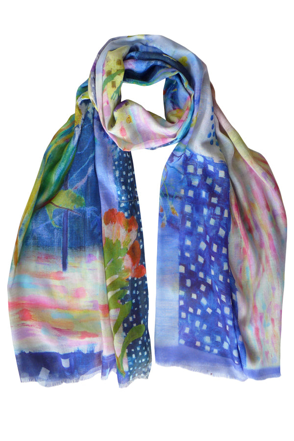 Pazuki | SS20 | Daisy Collage Blue 100% Cotton Scarf
