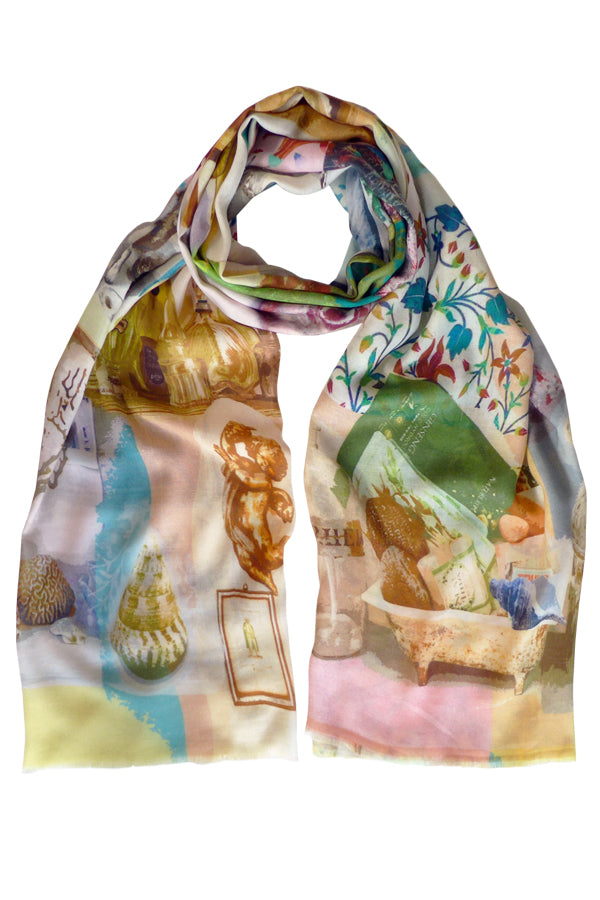 Pazuki | SS20 | Splash Multi Cotton Silk Cashmere Scarf
