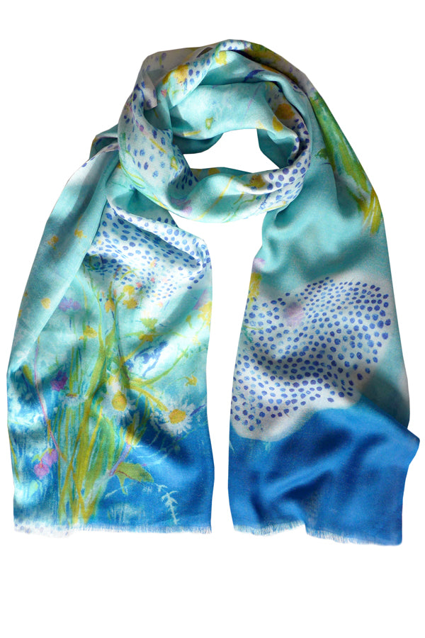 Daisy Polka Blue Cotton Silk Cashmere Scarf