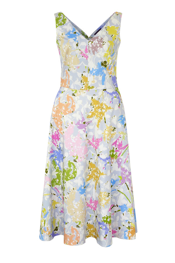 Dora Fragments Pastel Stretch Cotton A-Line Dress