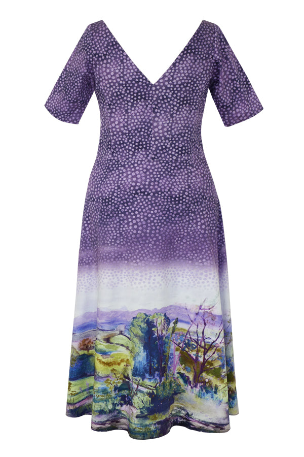Pazuki | SS20 | Dora Landscape Border Mauve Stretch Cotton A-Line Dress