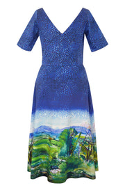 Pazuki | SS20 | Dora Landscape Border Blue Stretch Cotton A-Line Dress