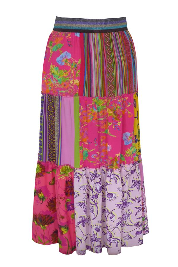 Pazuki | SS20 | Epona Patchwork Pink Crepe de Chine Tiered Skirt - Model
