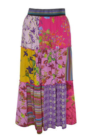 Pazuki | SS20 | Epona Patchwork Pink Crepe de Chine Tiered Skirt