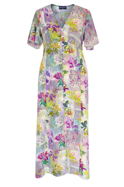 Fabulinus Lily & Rose Patch Pink Crepe de Chine Button Through Dress