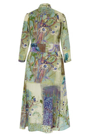 Pazuki | SS20 | Gaia Daisy Collage Eau de Nil Crepe de Chine Shirt Dress