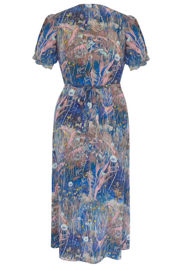 Pazuki | SS20 | Pazuki | SS20 | Harmonia Meadow Blue Pink Crepe de Chine Wrap Front Dress