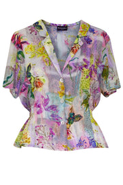 Pazuki | SS20 | Hebe Lily & Rose Patch Pink Crepe Vintage Style Shirt