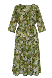 Pazuki | SS20 | Hestia Camouflage Khaki Cotton Voile Draw String Dress