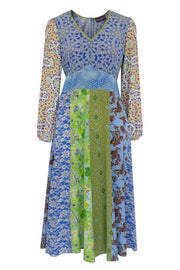 Pazuki | SS20 | Libertas Patchwork Blue Green Crepe de Chine V-Neck Dress