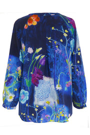 Luna Daisy Collage Navy Crepe de Chine Shirt