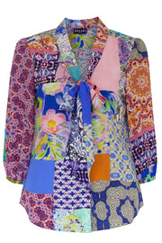 Pazuki | SS20| Maia Patchwork Bright Crepe de Chine Pussy Bow Shirt