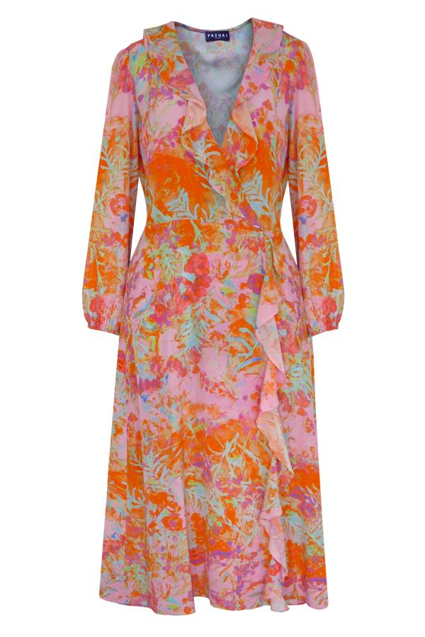 Pazuki | SS20 | Minerva Shady Grove Orange Crepe de Chine Wrap Front Dress