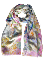 Paisley Scribble Techno Cotton Silk Cashmere Scarf