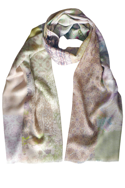 Patchwork Pastel Cotton Silk Cashmere Scarf