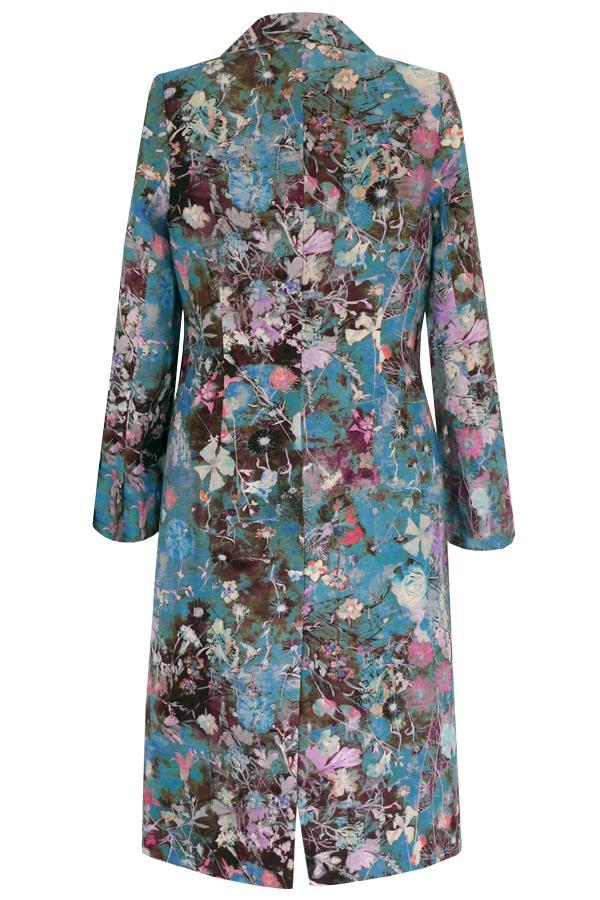 Pazuki | SS20 | Sommus Damask Rose Teal Long Linen Coat