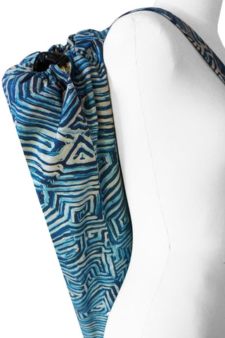 Maze Blue - Printed Yoga Bag