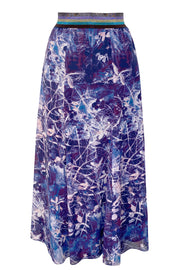 Aphrodite Twigs Navy Silk Georgette Panelled Skirt