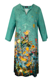 Athena Nasturtium Border Green Tunic Dress