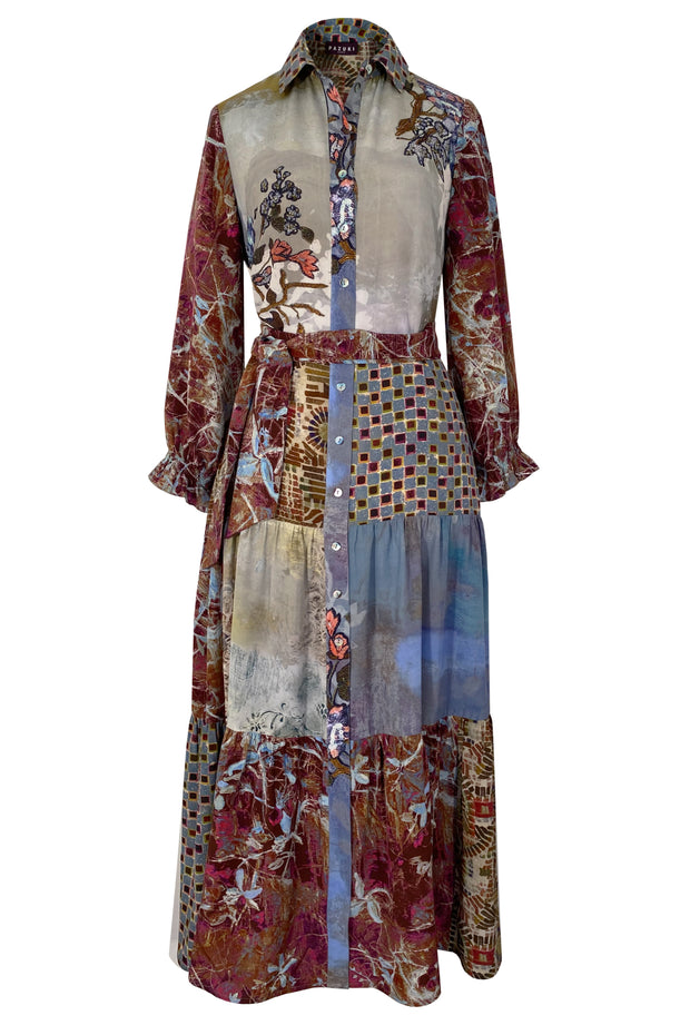 Celaeno Patchwork Earth Silk Crepe de Chine Maxi Dress