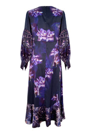 Circe Hellebore Twigs Violet Satin Maxi Dress