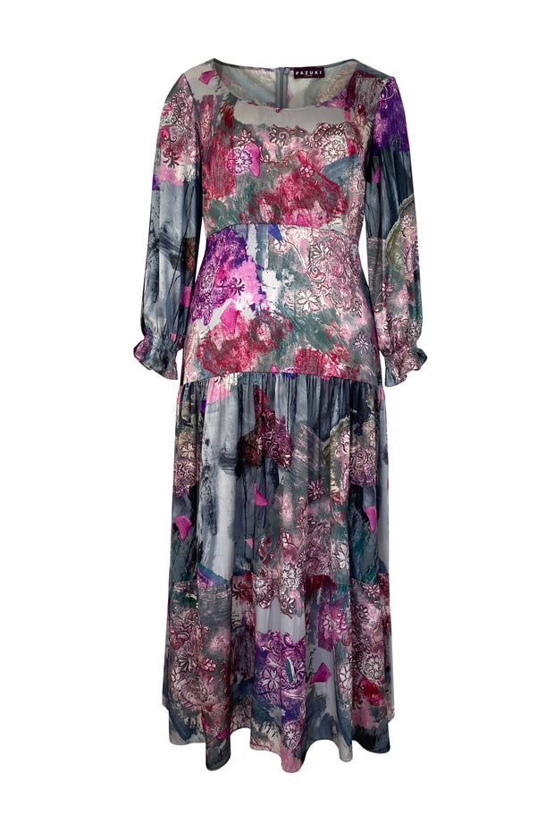 Juno Filigree Magenta Charcoal Satin Maxi Dress