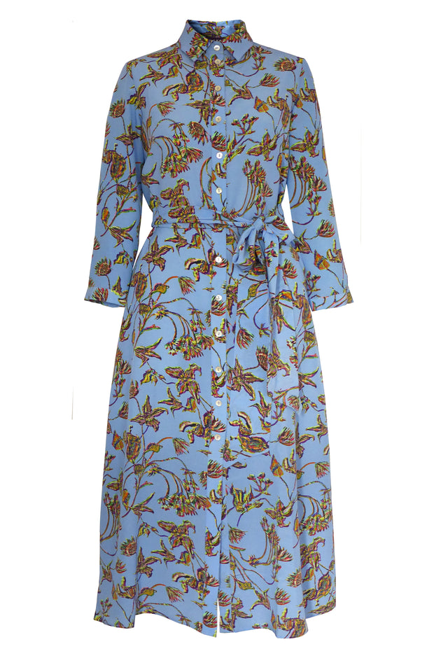 Gaia Clematis Blue Crepe de Chine Shirt Dress
