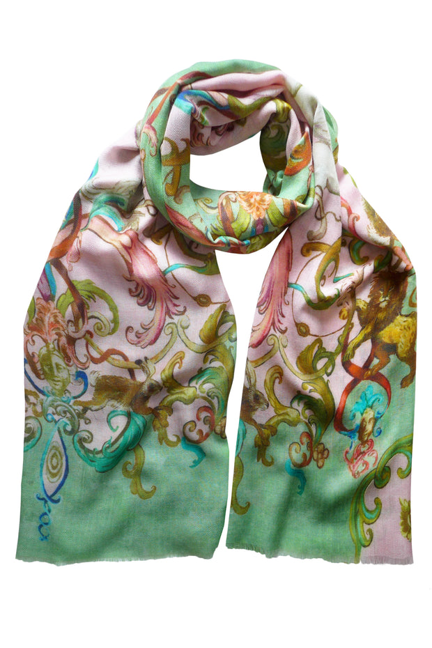 Pazuki | AW19 | Magic Kingdom Green Wool Silk Scarf