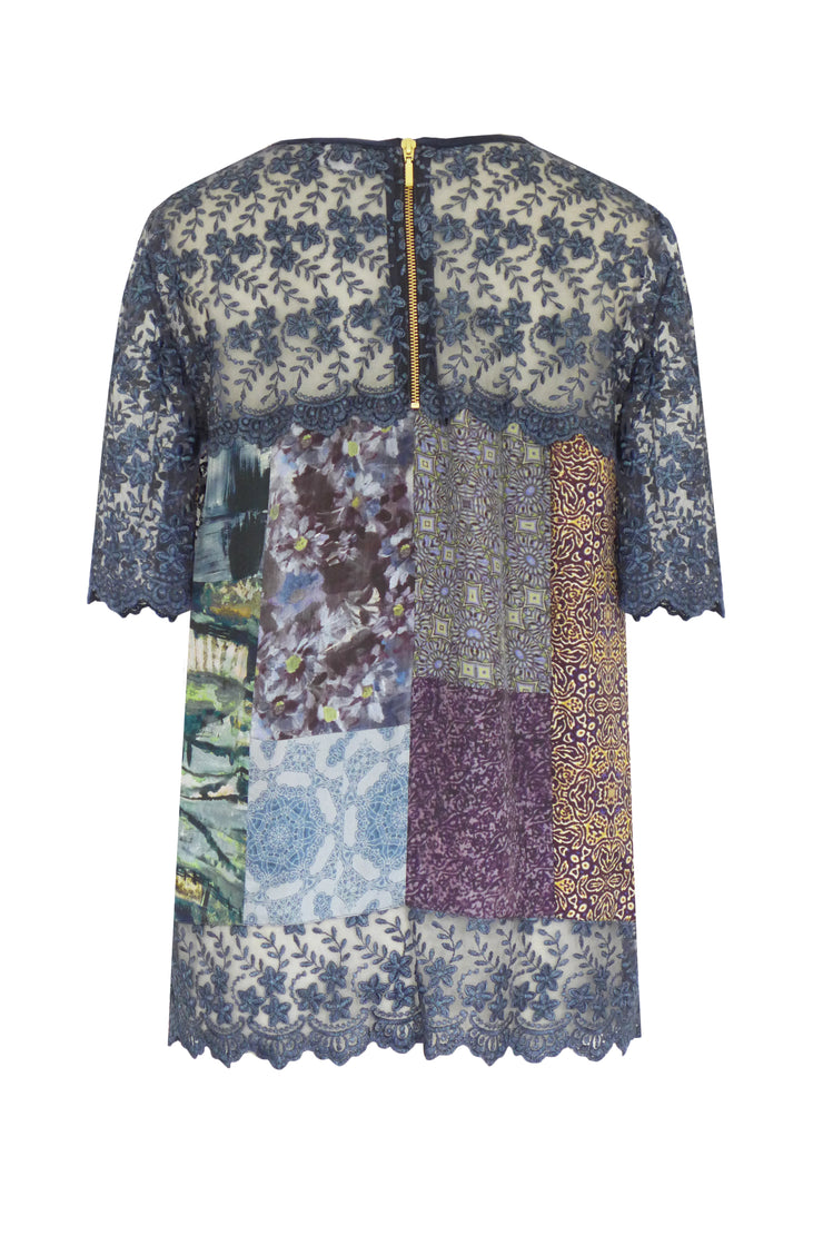 Pazuki | AW19 | Fides Secret Garden Tapestry Guipure and Lace Patch Top