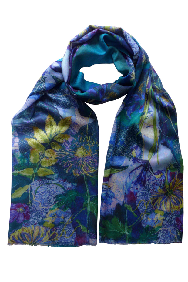 Pazuki | AW19 | Secret Garden Blue Wool Cashmere Scarf