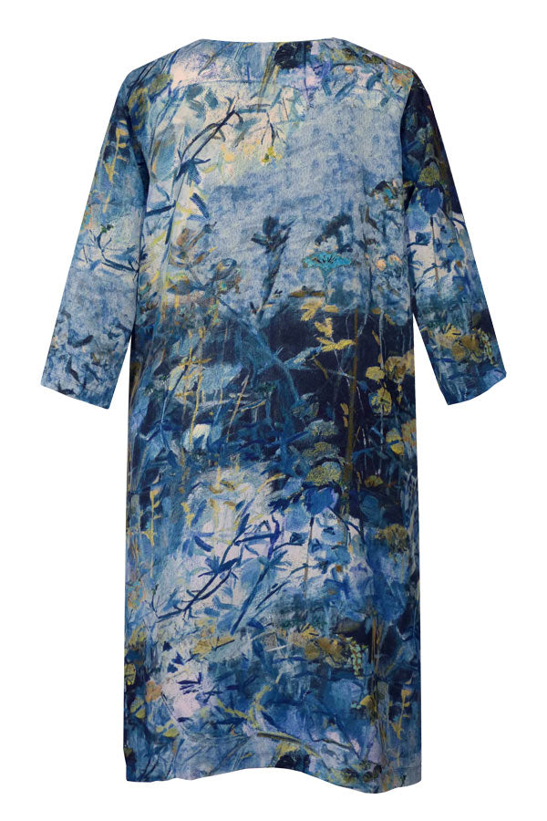 Athena Nasturtium Blur Blue Tunic Dress