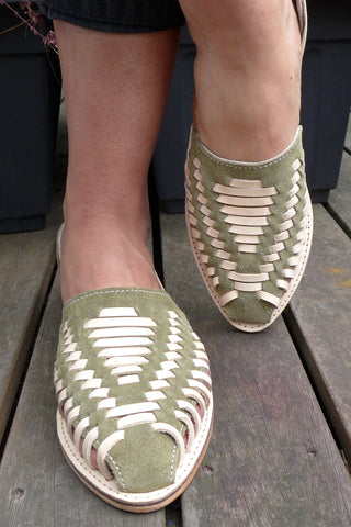 Olive Leather Woven Pumps